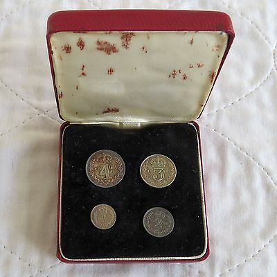 1908 EDWARD VII SILVER 4 COIN MAUNDY SET - boxed