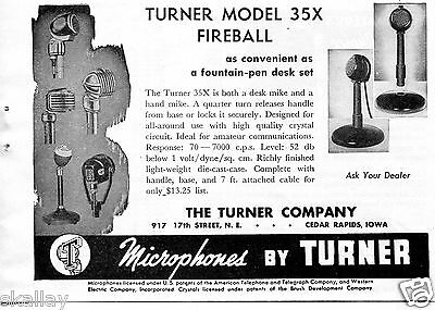 1948 Print Ad of Turner Model 35X Fireball Desk & Hand Mike Microphone