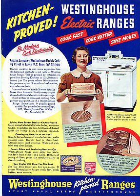 1938 Print Ad of Westinghouse Kitchen Proved Emperor Electric Range