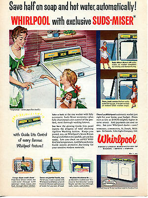 1954 Whirlpool Suds-Miser Washing Machine Washer Ad