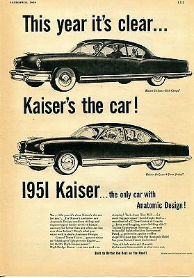 1950 Kaiser DeLuxe 4 Door Sedan & Club Coupe Car Print Ad