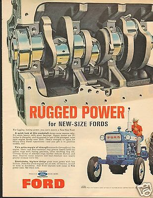 1965 New Size Ford Farm Tractor Engine LARGE Print Ad