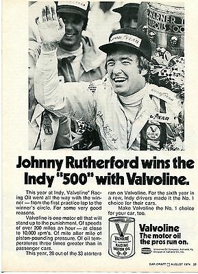 1974 Valvoline Racing Motor Oil Johnny Rutherford Indy 500 Victory Print Ad