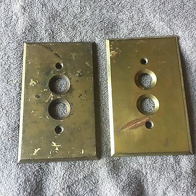 Vintage Antique Pair Of Push Button Brass Electrical Gang Switch Cover Plates #1