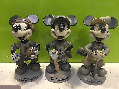 3x Disney Collectible Mickey Mouse Sporting Figures