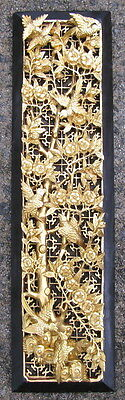 Semi-antique Chinese carved wood panel lacquer gold birds blossoms 6.25x23.5in