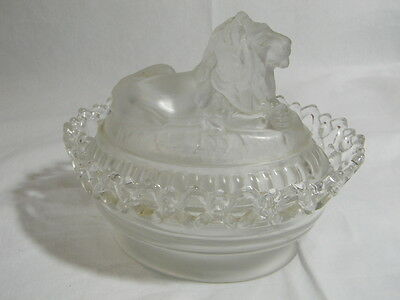Vintage Imperial Glass Clear Frosted Atterbury Lion Laced Edge Nest Candy Dish