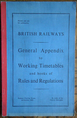 BR Working Timetable General Appendix 1960