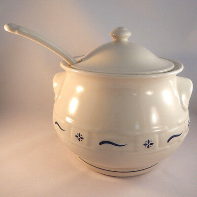 Longaberger Pottery Soup Tureen Woven Traditions Blue
