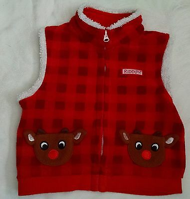 RUDOLPH Boy's Sweater Vest Size 18 Months Sleeveless Plaid/Check Red Christmas