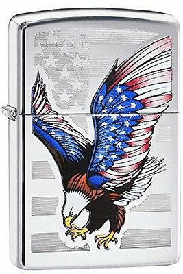 Zippo Eagle Flag Windproof Lighter - High Polish Chrome