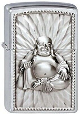 ZIPPO Unisex Adult BUDHA 108 PEARLS EMBLEM WINDPROOF POCKET LIGHTER - Chrome