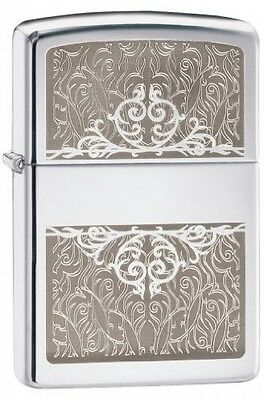 Zippo Filigree Initial Windproof Lighter - High Polish Chrome