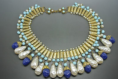 Vintage French 50s turquoise poured Glass faux pearl Beaded Necklace