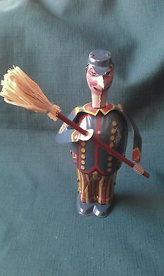 Tin Plate Mechanical Wind Up Man With Broomstick (Fully Working).