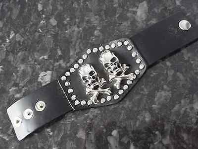 Nwot Living Dead Souls Leather Wristband 2 X Skull And Crossbones Snap Fastening