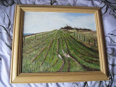 LARGE LANDSCAPE, OIL ON BOARD SIGNED...A SCENE OF CHERHILL IN WILTSHIRE 68/57cms