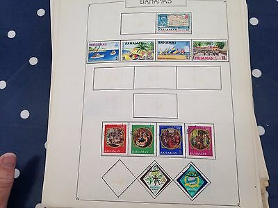 Bahamas stamps on album pages direct from old French estate untouched