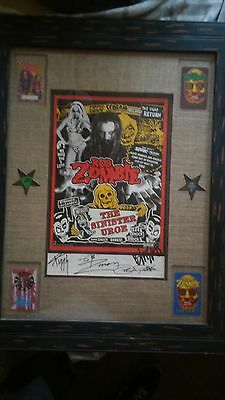 Rob Zombie Autographed Poster signed by band. custoum framed