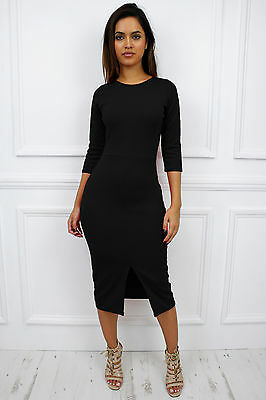 New Womens Ladies Black 3/4 Sleeve Front Slit Bodycon Cocktail Midi Dress
