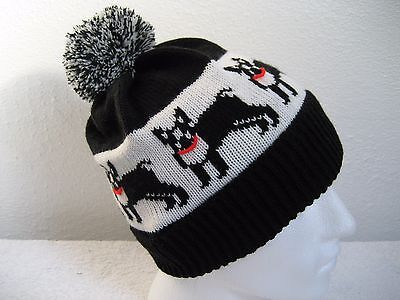 Boston Terrier Dog Knitted Pompom Hat Adult Size