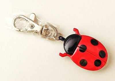 Ladybug keychain clip and watch - Black/Red