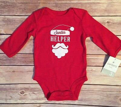 Baby Long Sleeve Red Christmas One Piece. 3 Months . Carters. Santa's Helper