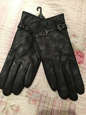 New Tie Rack Ladies Black Soft Leather Gloves Small/medium Buckle Rrp £24.99
