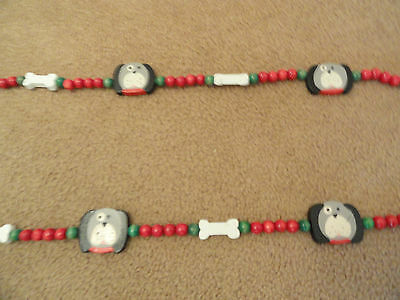 16 Feet of Christmas Wood Bead Garland with Dogs (2 strings)