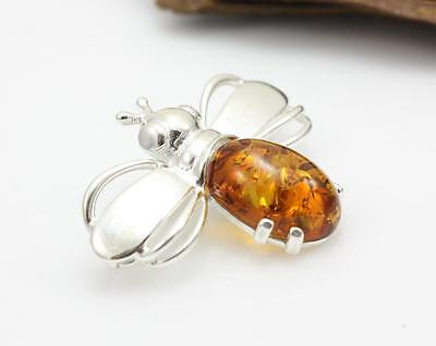 NATURAL BALTIC AMBER STERLING SILVER 925 BROOCH Bee Certified GIFT BOX