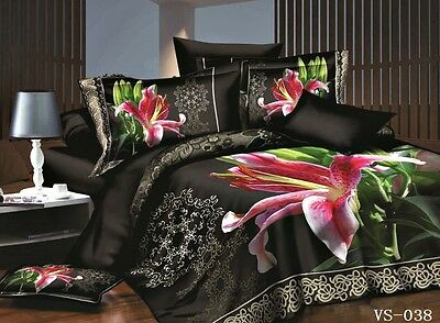 Double Size FLORAL BLACK PINK LILY  3d duvet bedding set LIMITED EDITION. xmas