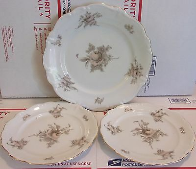 Lot of 3 Johann Haviland Bavaria Germany China Sepia Rose Pattern sign/numbered