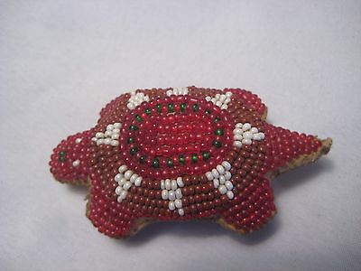 North American Beaded Leather Turtle Fetish, Northern Plains Amulet...co-362