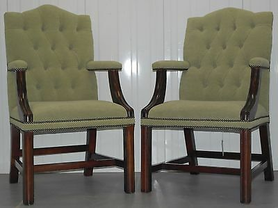 Pair Of Green Velvet Mahogany Framed Chesterfield Gainsborough Armchairs Button