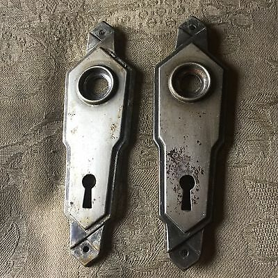 VTG Antique Pair Of Stamped  Metal Art Noveau Door Knob Backplates #3
