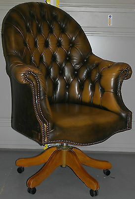 Stunning Vintage Chesterfield Aged Brown Leather Directors Captains Chair