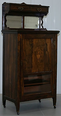 Victorian Solid Rosewood With Beautiful Roman Style Inlaid Detailing Cabinet