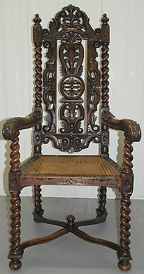 Rare Victorian Hand Carved Mahogany Throne Chair Rattan Base Must See Detailing