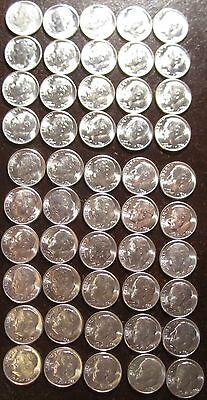 1954 S  Roll Bu Uncirculated Silver Roosevelt Dimes 50 Coins