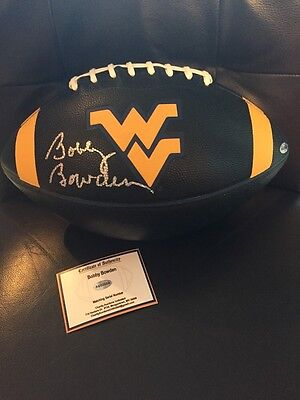 BOBBY BOWDEN signed RARE Black WVU MOUNTAINEERS Football!! HOLOGRAM & PROOF!