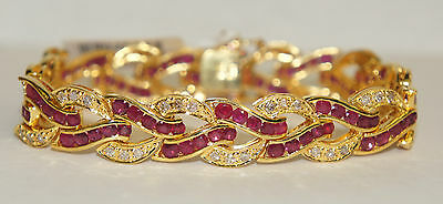 """14k Solid Yellow Gold Cute Bracelet Diamond 1.55CT & Natural Ruby 7.5TCW, 7"""""""