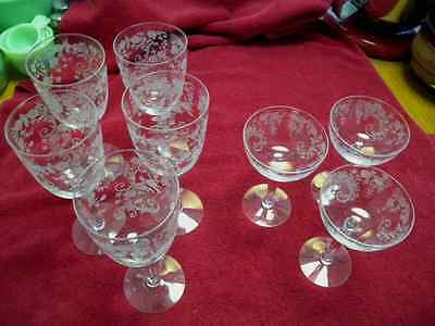 """Fostoria Crystal Etched Buttercup- 5- 7 7/8"""" Water Stems,  3-  5 3/4"""" Sherbets"""
