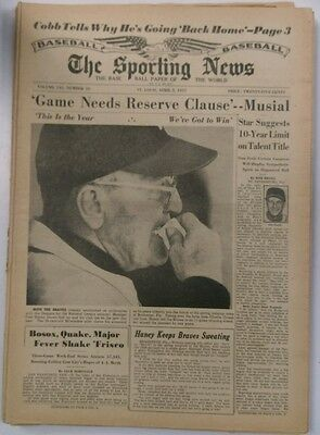 The Sporting News Baseball Paper of the World April 3, 1957 (Not Mint)