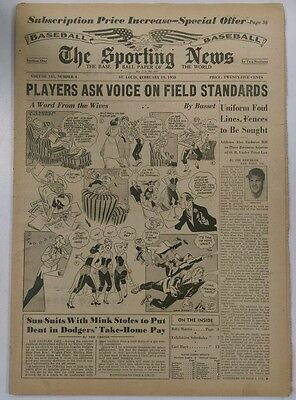 The Sporting News Baseball Paper of the World February 19, 1957 (Not Mint)