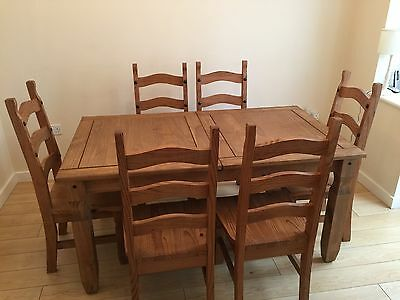 Mexican Corona Pine Extending Dining Table & Chairs