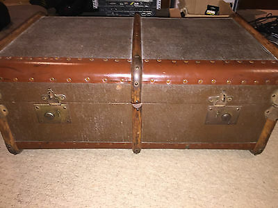 Antique Vintage Steamer Travel STORAGE TRUNK chest box coffee table
