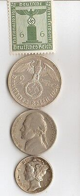 *free WW2  us  NICKEL  +  *WW2 - *german  SILVER  EAGLE  coin/stamp + .