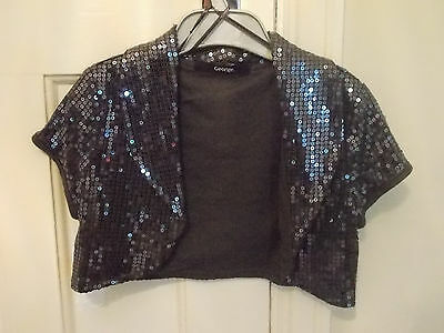 George Girls age 6-7 sequins grey bolero cropped jacket coverup party WORN TWICE