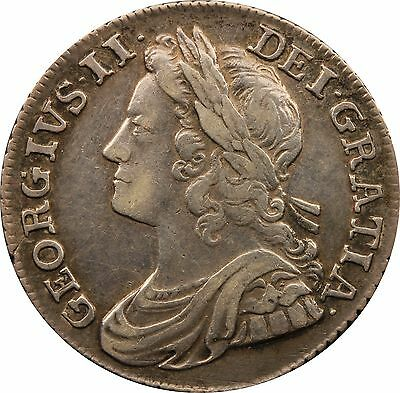 1739 ONE SILVER SHILLING COIN ROSES IN ANGLES TYPE KING GEORGE II (c.1662-1816)