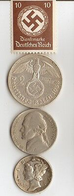 *WW2 - *german  SILVER  EAGLE  coin/stamp + .
